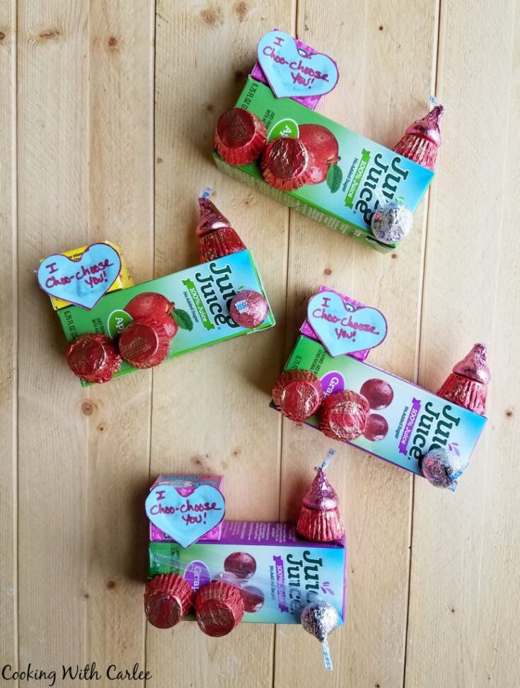 Valentines trains made out of juice boxes and candy.