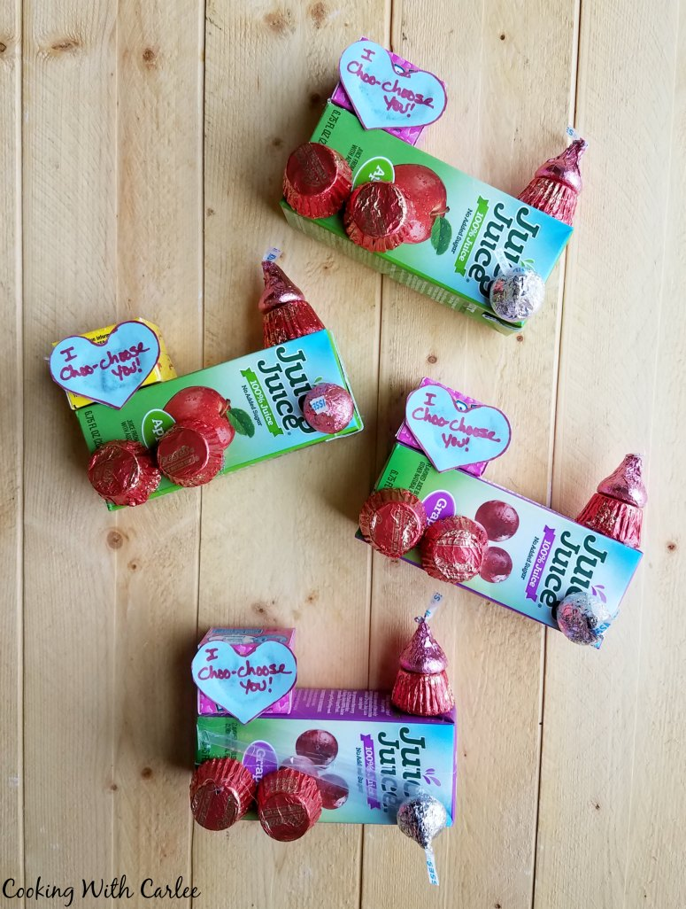 valentines made from juice boxes and candy to look like train engines