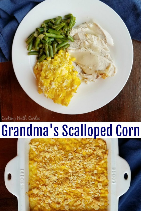 This vintage recipe is a hearty filling side dish that was a staple at many family dinners of my childhood and those of the generations before me.  Great-grandma's scalloped corn is a perfect side to so many dinner entrees!