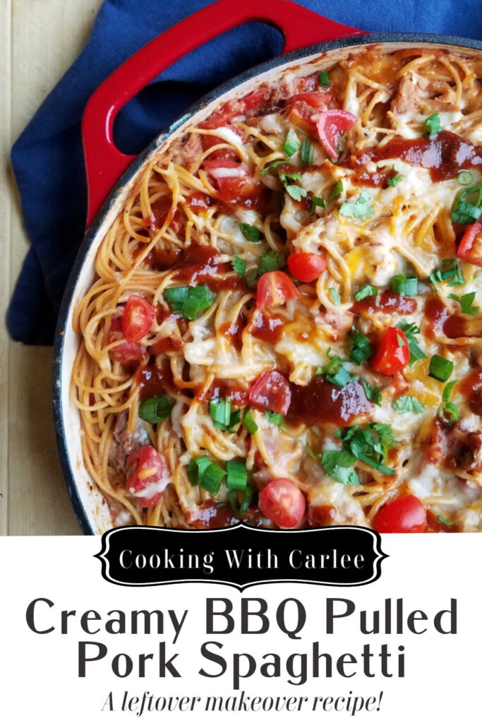 Turn leftover pulled pork into a completely different meal with this fun creamy bbq pulled pork spaghetti.  It comes together quickly and is the perfect combination of creamy, sweet, tangy and meaty.  It is a great way to switch it up and get dinner on the table!