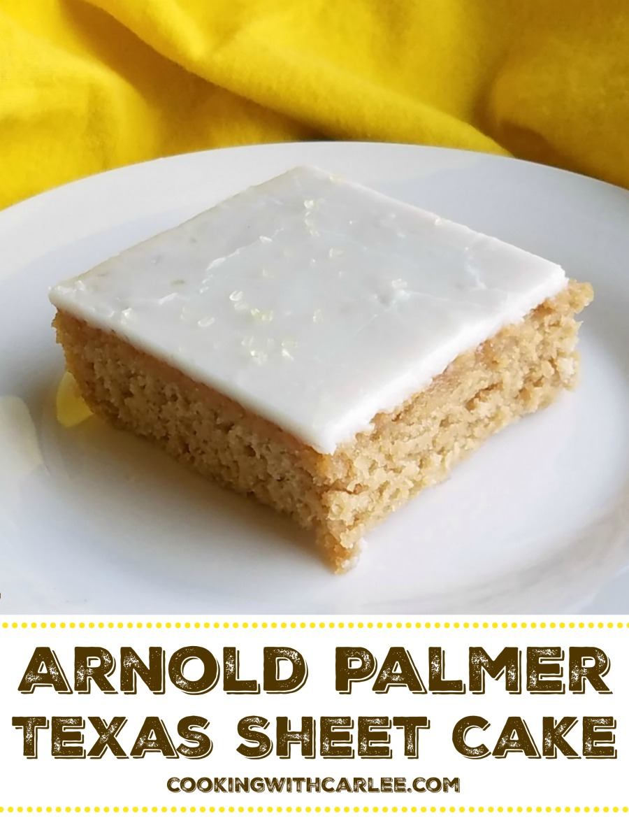 The classic tea and lemonade combination of the Arnold Palmer is now available in Texas sheet cake form.  Perfect for BBQs, potlucks or any summertime party!