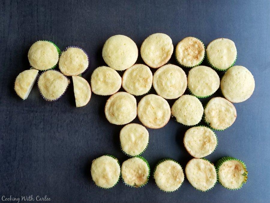 Cupcakes arranged in lamb shape.