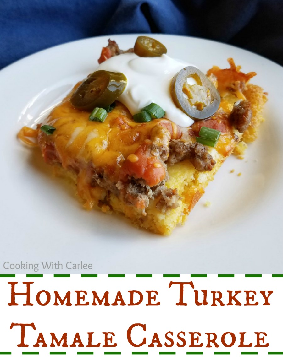 This fun turkey tamale casserole has a soft made from scratch corn base and is so full of flavor.  Plus it is so fun to dress up with your favorite toppings!