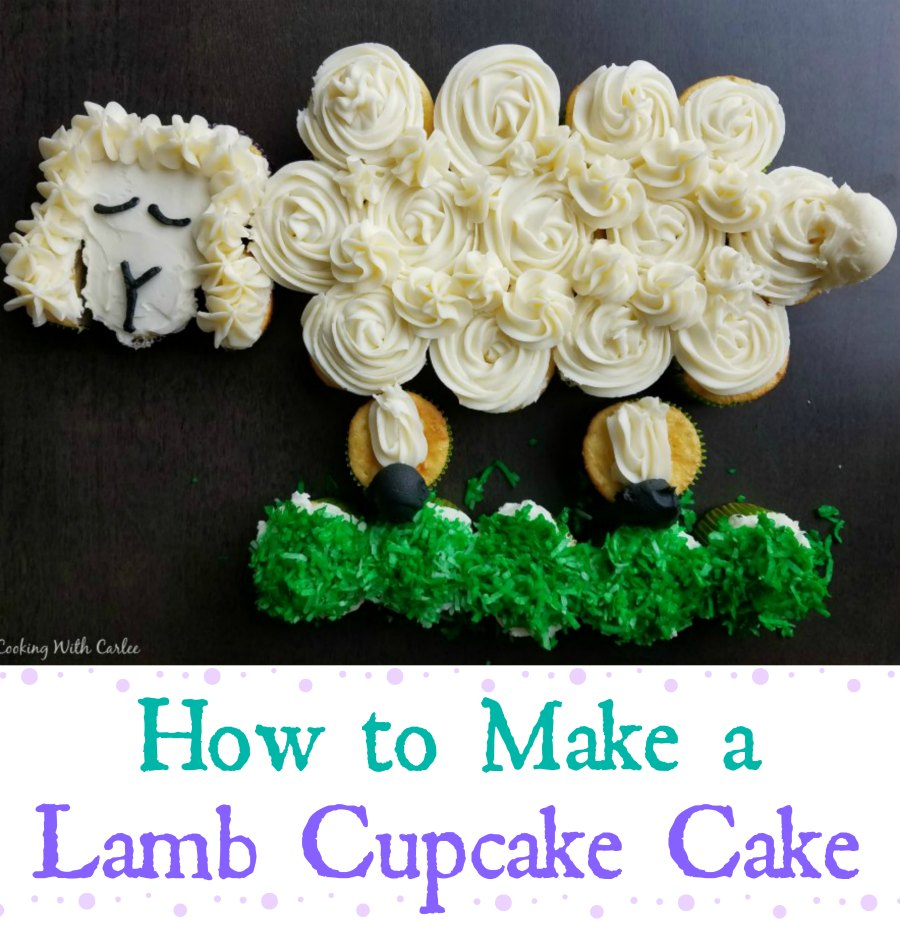 This cute lamb cupcake cake is perfect for spring and would be fun on your Easter table as well.  When it's time to eat, everyone just pulls off a cupcake to enjoy!