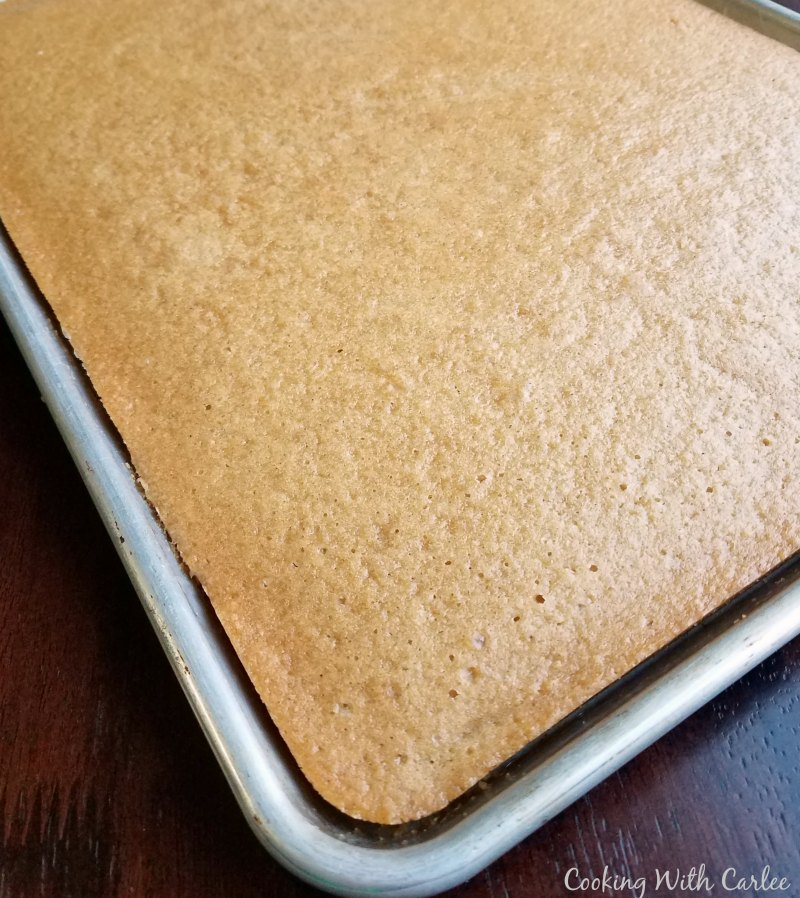 peanut butter sheet cake fresh from the oven.