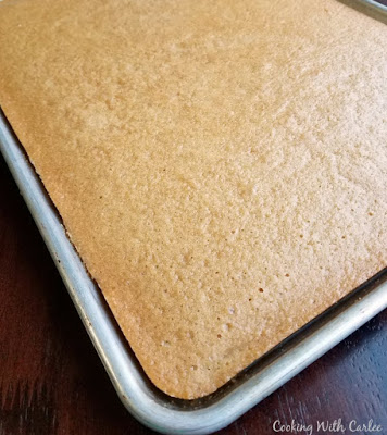 peanut butter sheet cake fresh from the oven