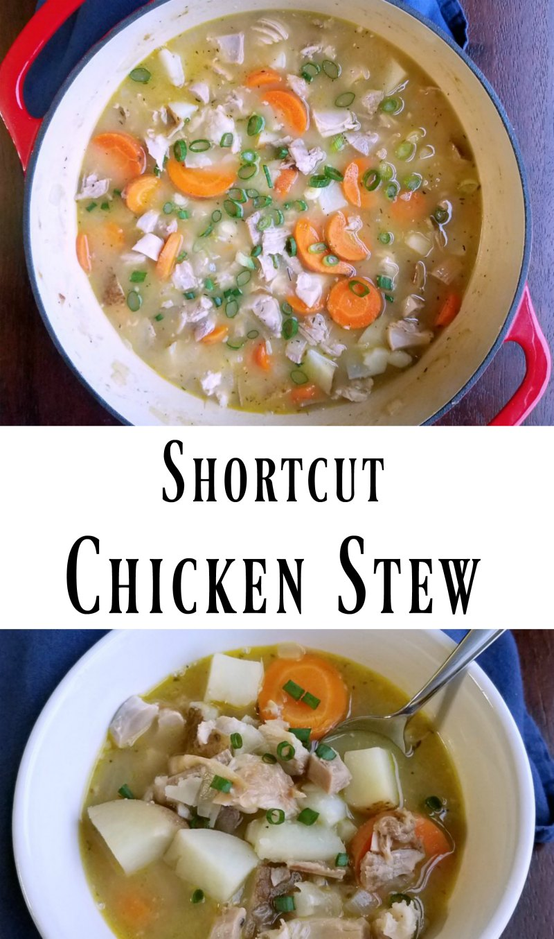 This chicken stew is made quickly with rotisserie or leftover chicken, but that does not make it short on flavor. This shortcut chicken stew is hearty, flavorful and oh so good!
