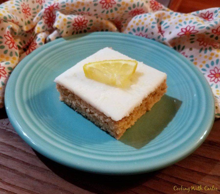 served piece of sweet tea and lemon Texas sheet cake