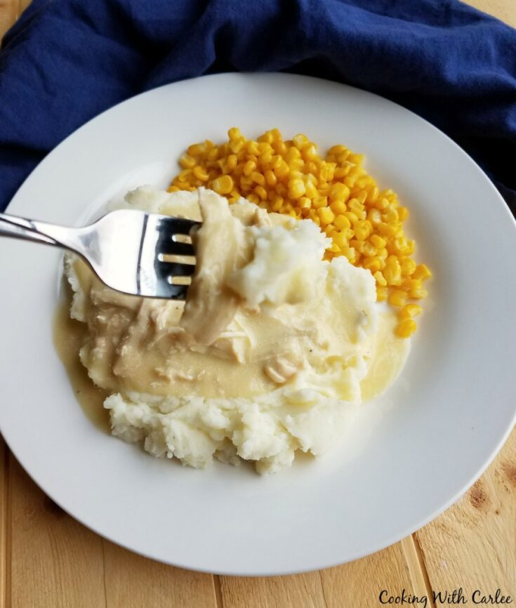 forkful of chicken and gravy with mashed potatoes.