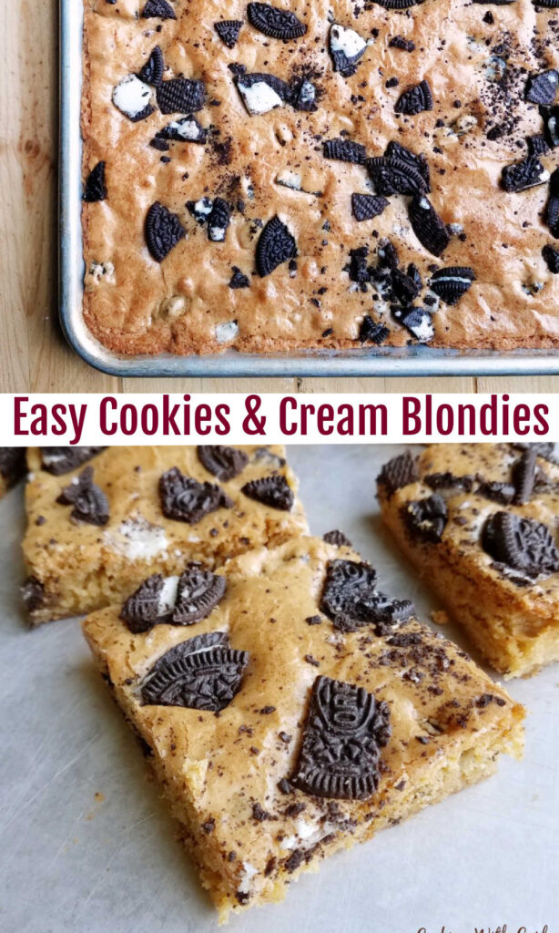 A nice big batch of brown sugary cookies and cream blondies is the perfect way to feed a crowd.  Bring them to your next potluck, BBQ or party and watch them disappear.