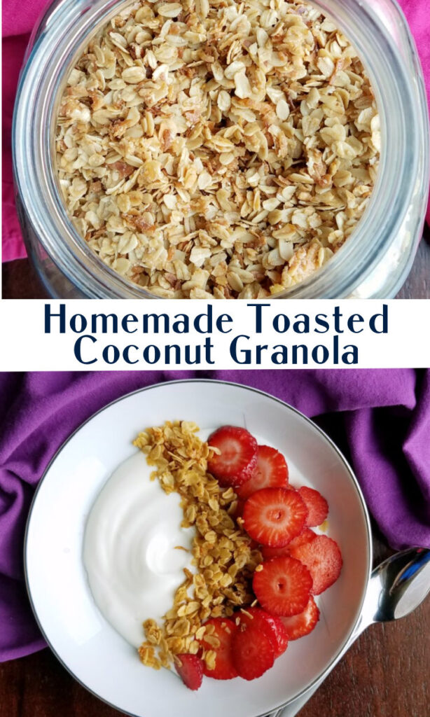 collage of homemade toasted coconut granola images