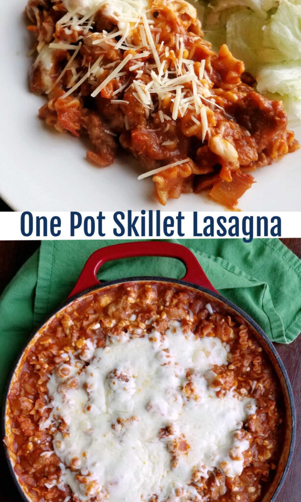 All of the flavors of lasagna cooked in one skillet on the stove. One pot skillet lasagna makes it possible to get it done on a weeknight and without a ton of dishes!