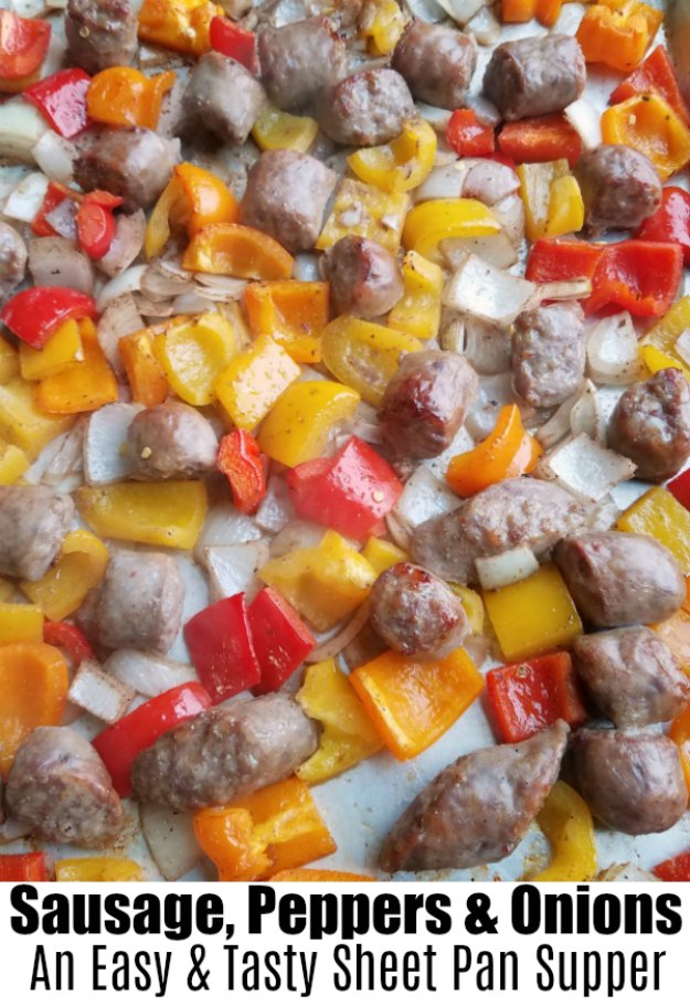 Italian sausage and peppers are a classic combination for a good reason: they are delicious together! Cooking them along with onions on a sheet pan makes it super easy. The clean up is really easy as well! Serve the mixture over pasta or rice for a fabulously quick meal.