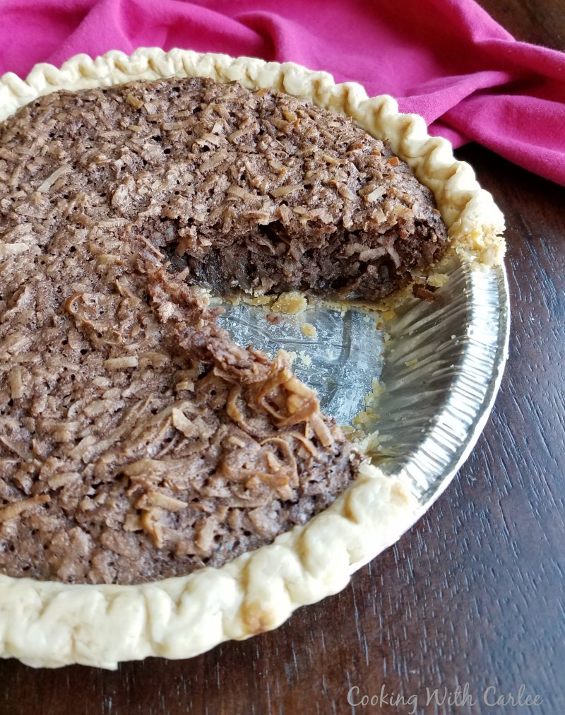 slice missing from chocolate coconut pie