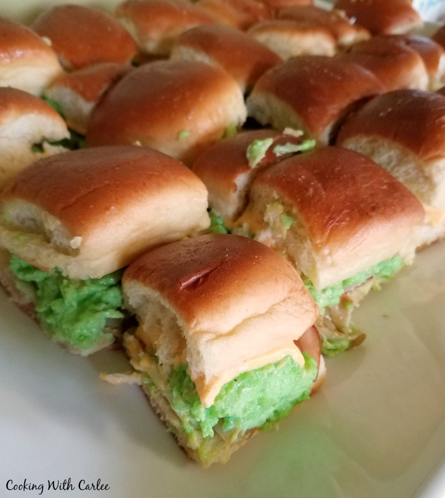 Green eggs and ham slider sandwiches ready for the party.