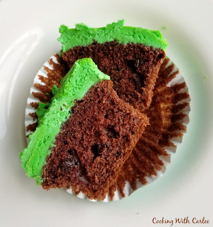 cupcake cut in half with soft center showing.