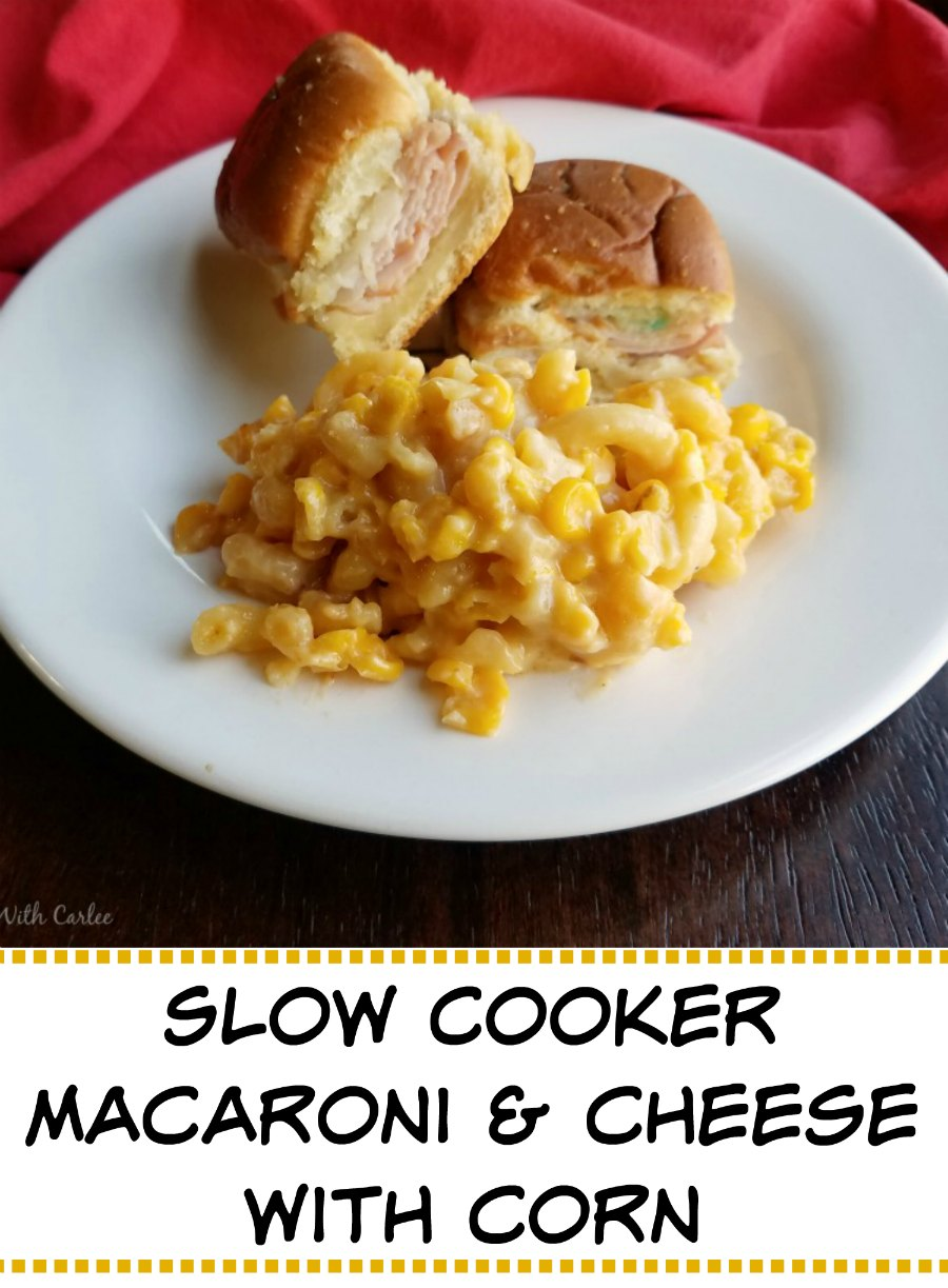 This simple side dish is perfect served at BBQs or potlucks. It is easy to throw together and cooks in the slow cooker while you enjoy your guests. Slow cooker corny macaroni and cheese for the win!