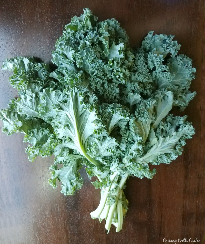 bunch of fresh curly kale.
