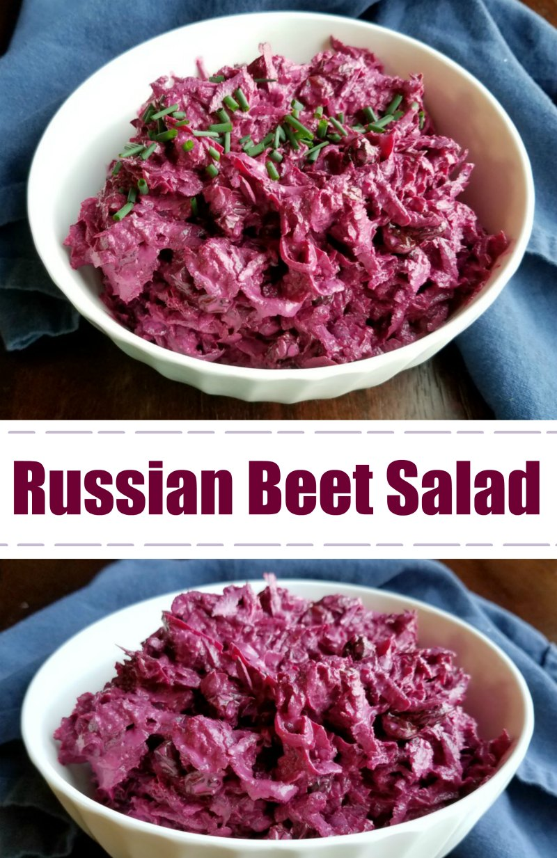 Russian Style Beet Salad is the perfect combination of creamy and crunchy, savory and sweet. You just have to try it!