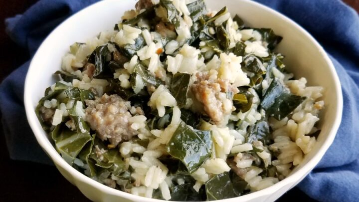 bowl2Bof2Bcollards2Bwith2Brice2Band2BItalian2Bsausage