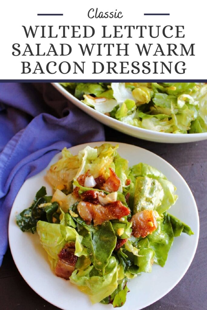 This classic recipe for wilted lettuce with bacon is the perfect way to eat leaf lettuce from the garden. The warm bacon dressing is a little sweet, tangy and savory all at once. It's the perfect mix.