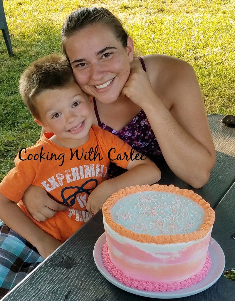 Little Dude and my sister with the whole cake