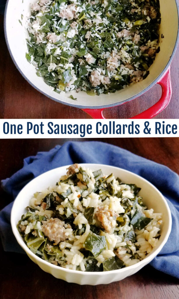 A flavorful one pot meal that is brimming with collard greens, Italian sausage and rice for an easy and flavorful dinner.