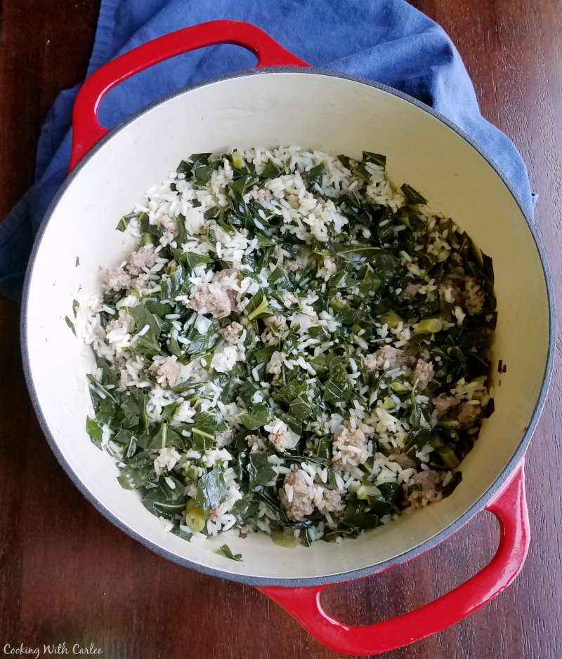 collards, rice and sausage just finished cooking, ready to serve.