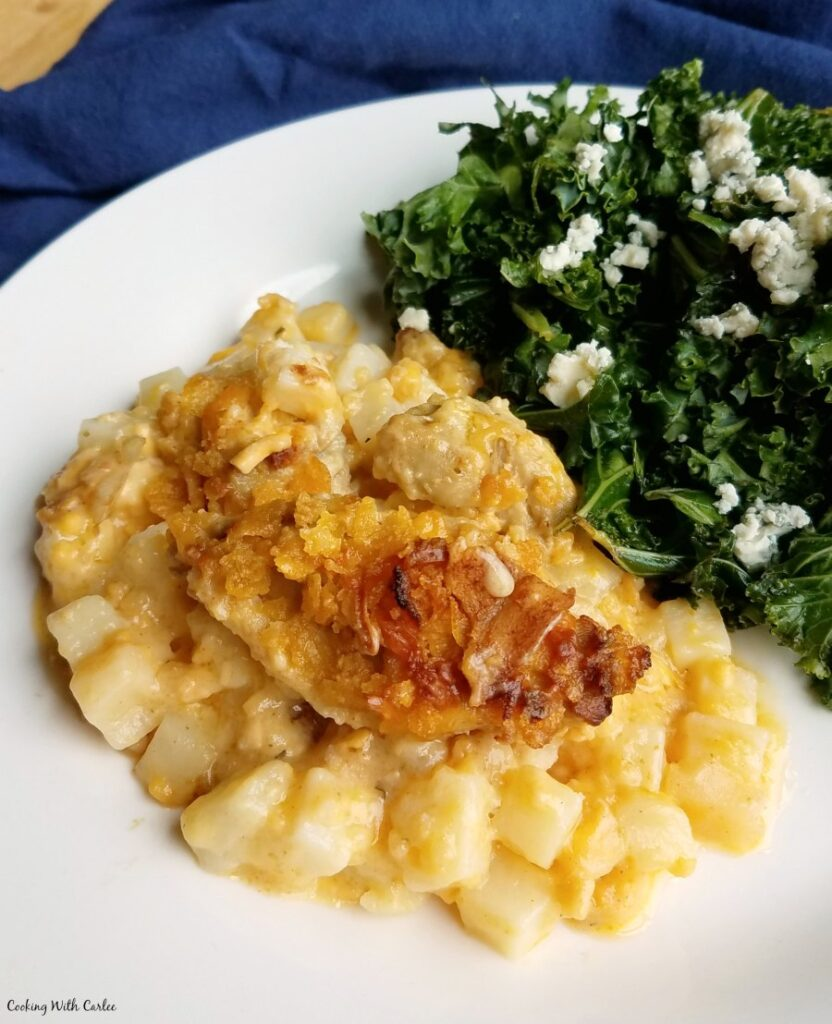 buffalo chicken casserole served with kale salad.