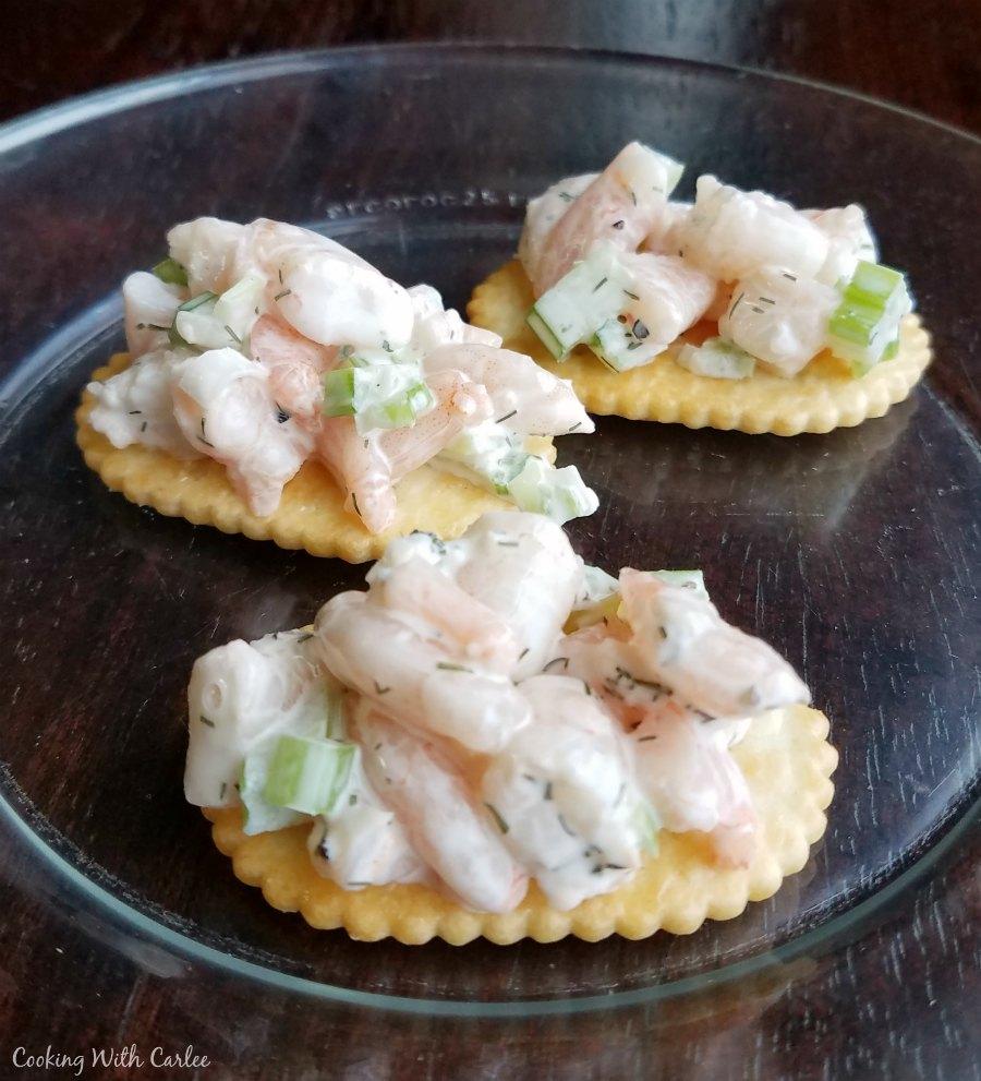 shrimp salad on crackers.