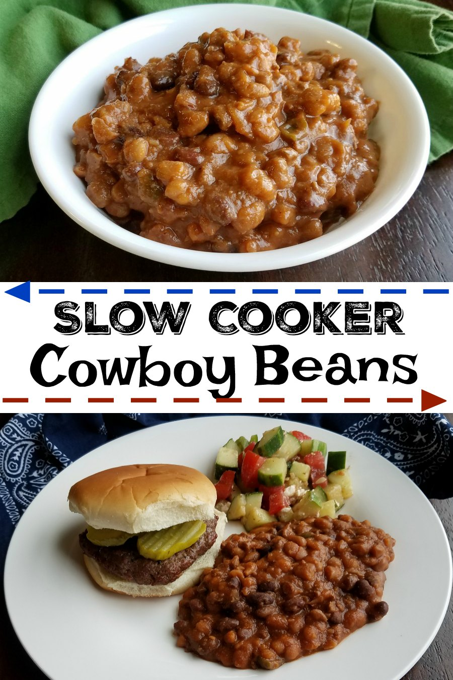 Nothing says summer bbq like some slow cooked beans. These meaty cowboy beans have a thick sauce that has the perfect balance of sweet and savory. They are a perfect side for potlucks, bbqs and carry ins too!