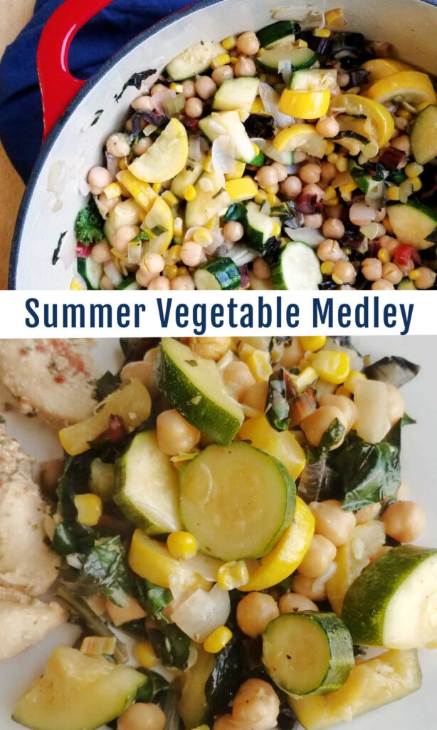 A medley of summer vegetables that are a perfectly hearty side dish but without a lot of fuss. Let the veggies themselves shine in this succotash like dish.