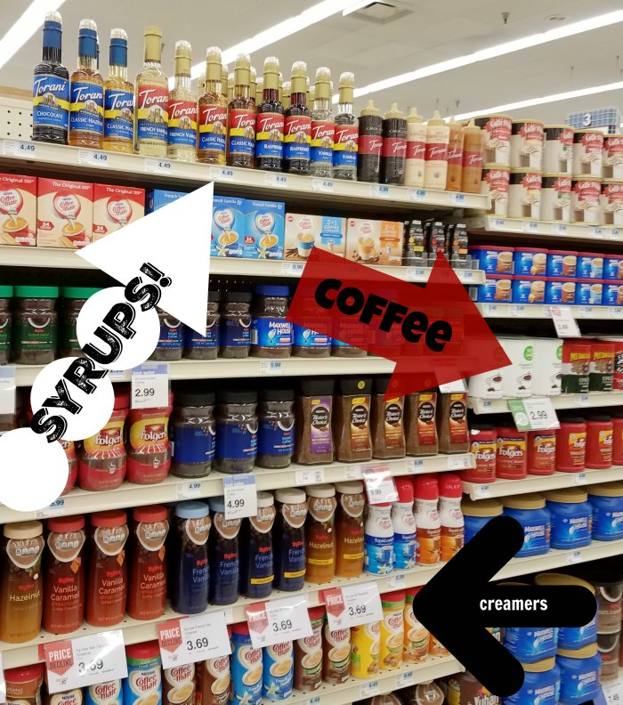 picture of where to find the flavored syrups in the grocery store
