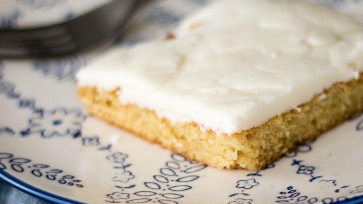 white sheet cake slice