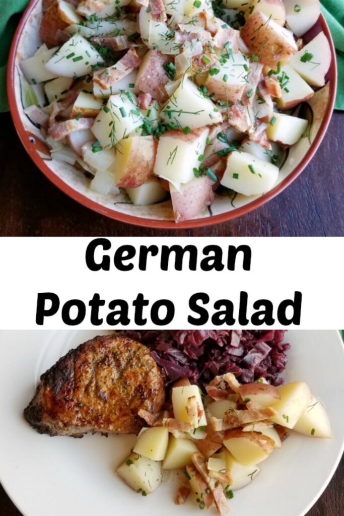This simple German style potato salad is a great side dish all year long. It is best served warm or at room temperature and is isn't loaded down with dressing. Don't let that make you think it isn't flavorful though. It has a little zing and plenty of bacon!