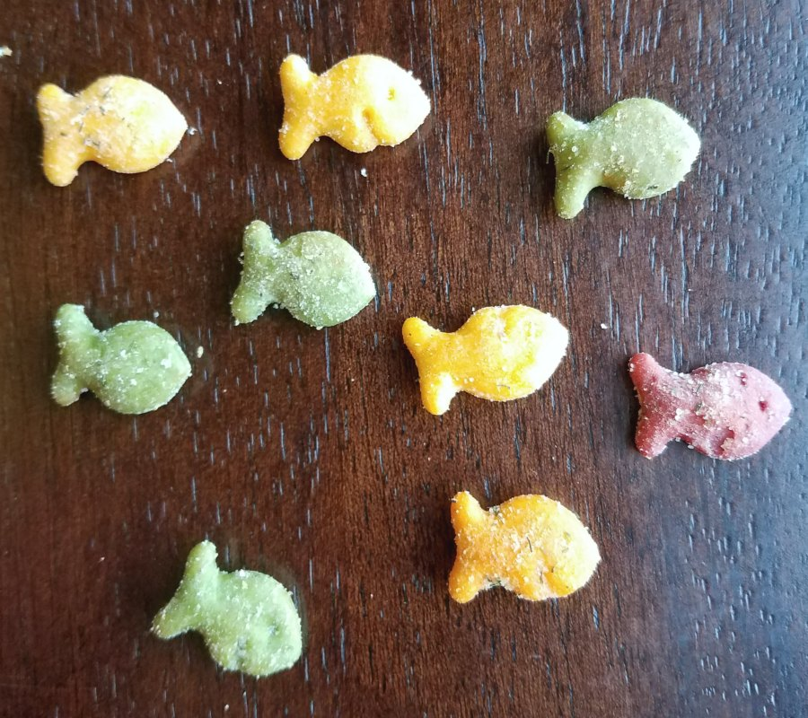 school of cheddar fish crackers swimming across counter.
