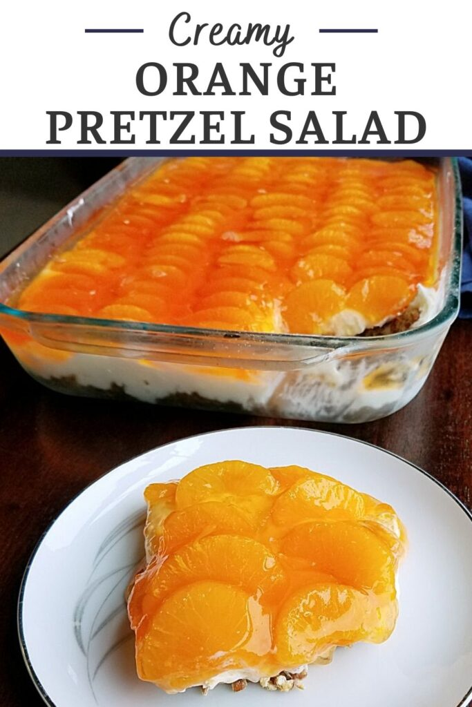Salty pretzel crust, vanilla cream cheese center and a blast of orange on top, this orange pretzel salad has it all. It is a fun flavor twist on the classic strawberry pretzel salad and it is popping with citrus flavor!