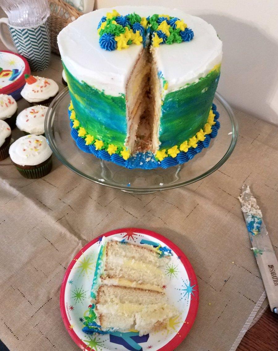 first slice of birthday cake served