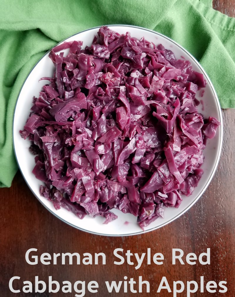 Red cabbage braised with apples and spices. This side is a little sweet, a little sour and is perfect served with any kind of pork.