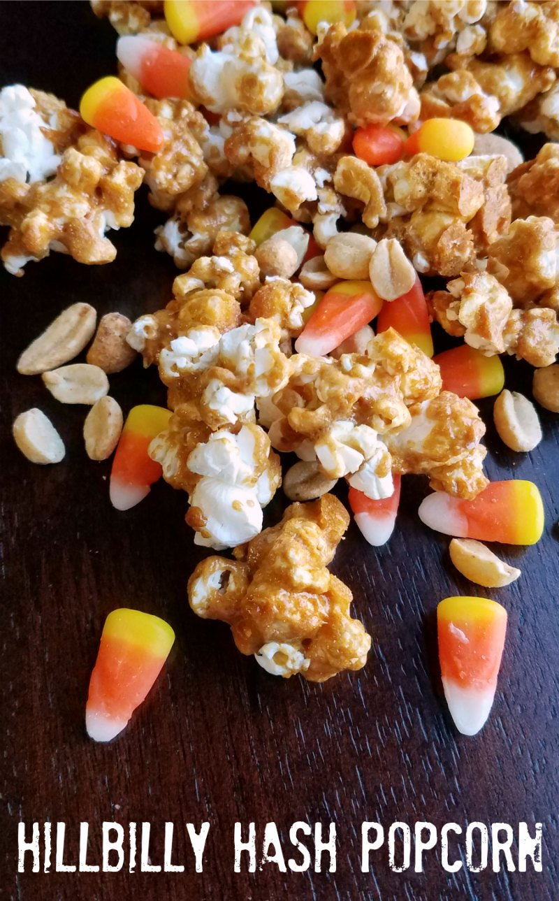 Sweet and salty crunch peanut popcorn with candy corn and peanuts for a fun version of hillbilly hash. A favorite fall treat just got upgraded!