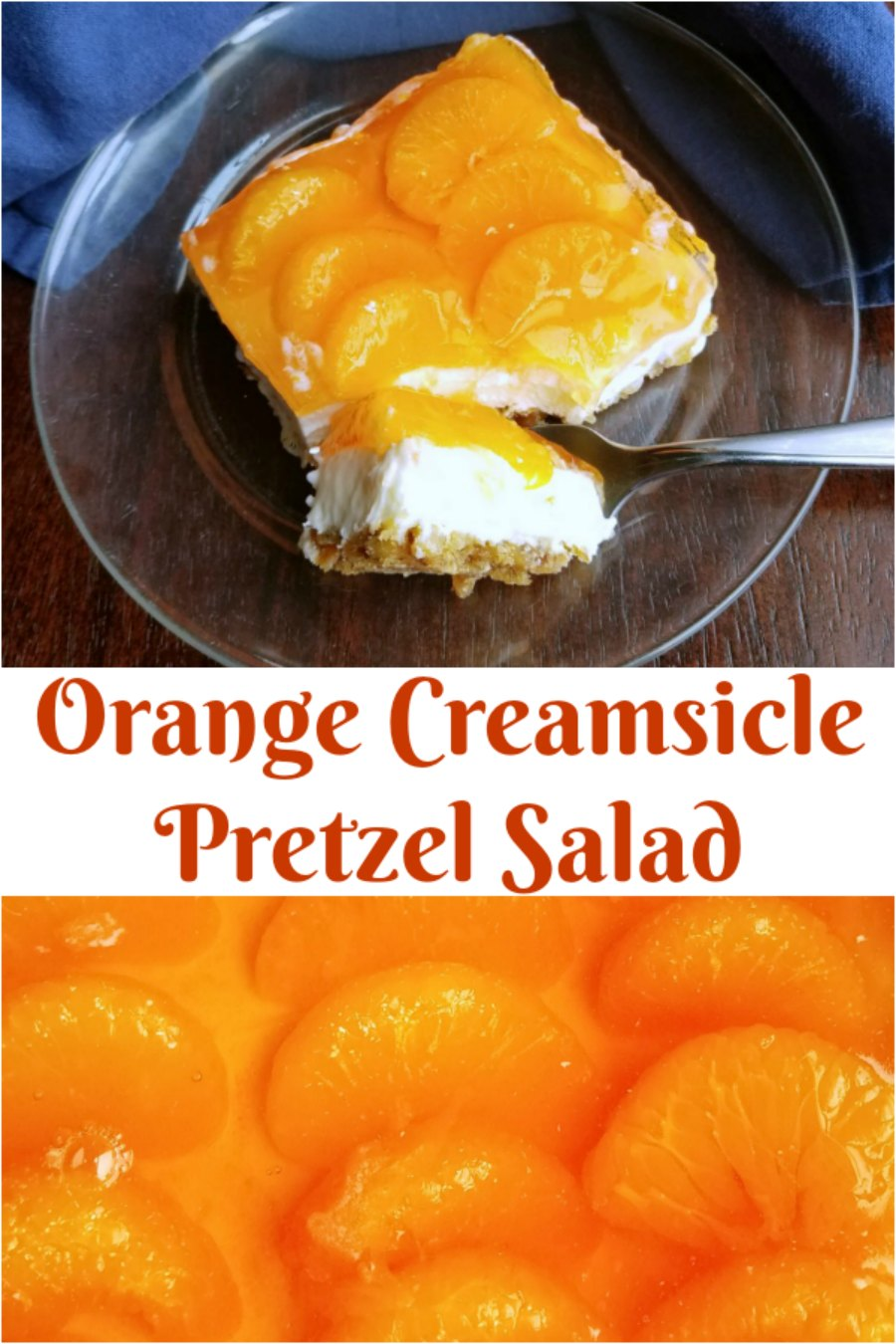 Salty pretzel crust, vanilla cream cheese center and a blast of orange on top, this orange creamsicle pretzel salad has it all. The only question is do you serve it as a side or a dessert?