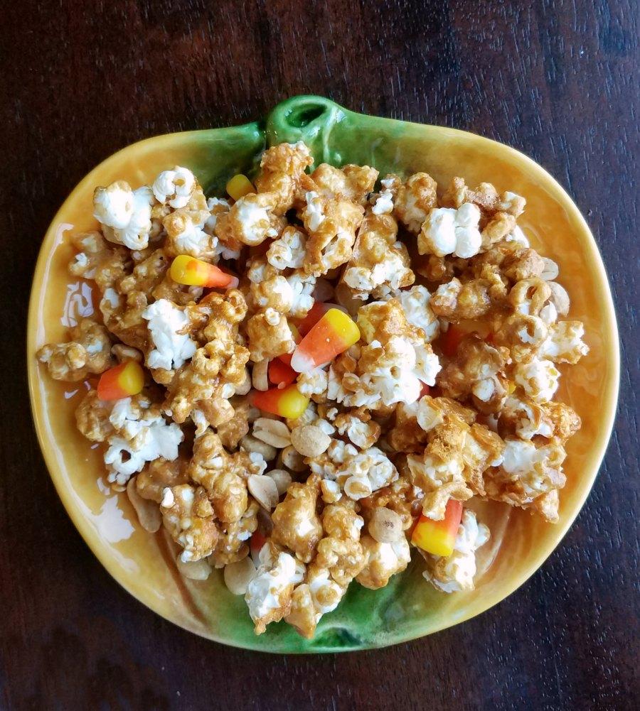 hillbilly hash popcorn on pumpkin shaped plate