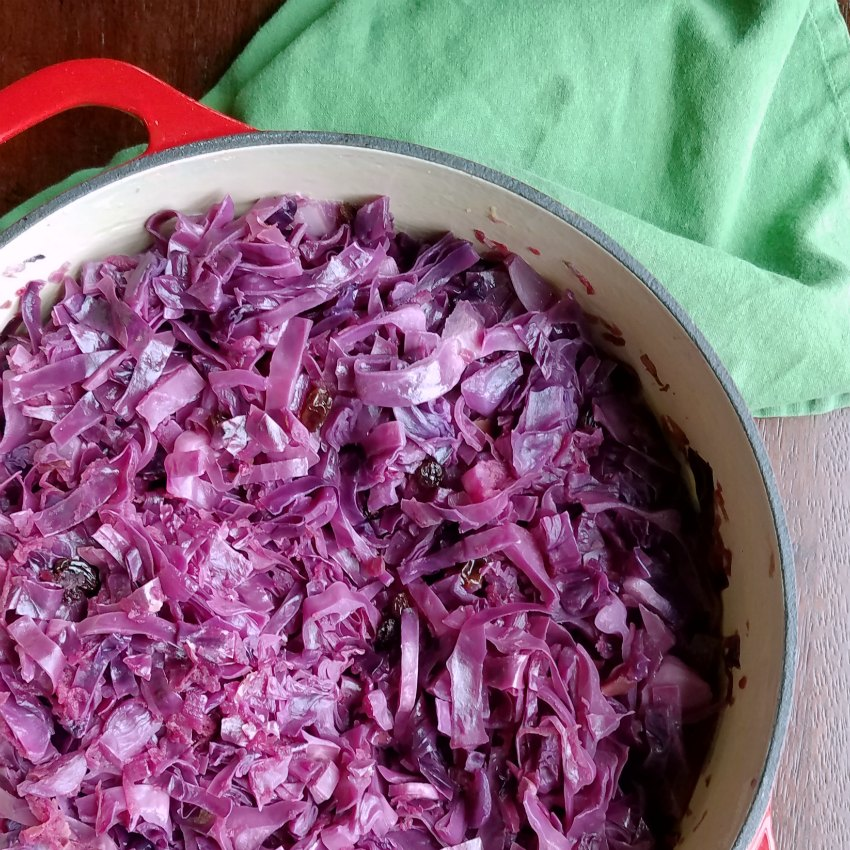 braised red cabbage in the dutch oven