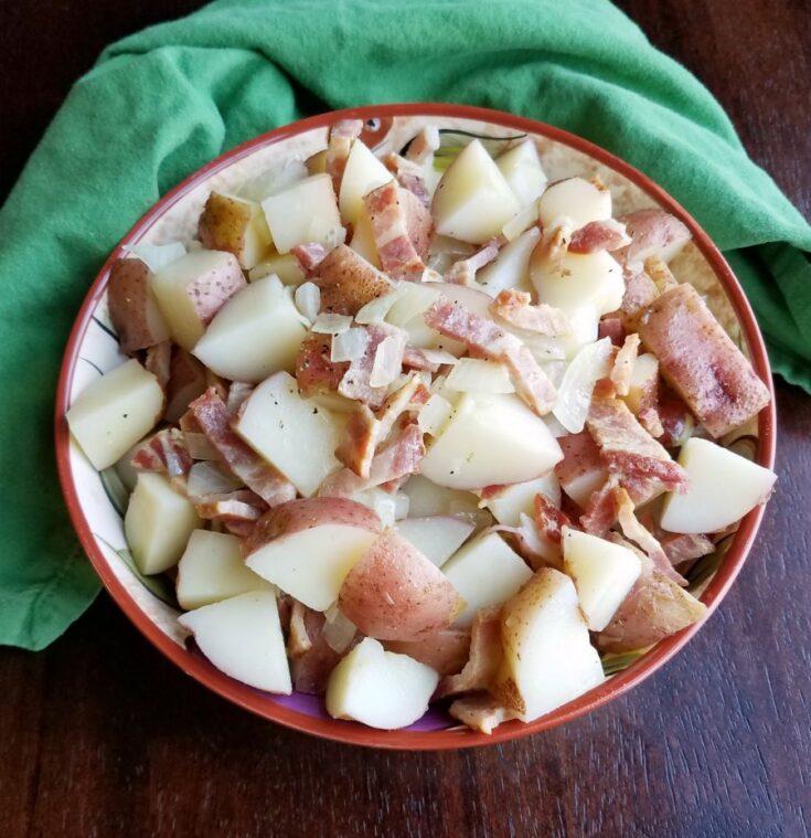 german potato salad with bacon and onion vinaigrette.