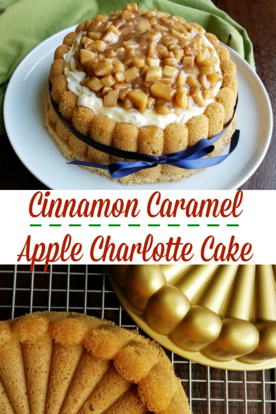 A spongy cinnamon cake in the shape of a classic Charlotte, topped with fluffy whipped cream cheese and plenty of cinnamon and caramel apples. It's a perfect taste of sweet fall flavors!