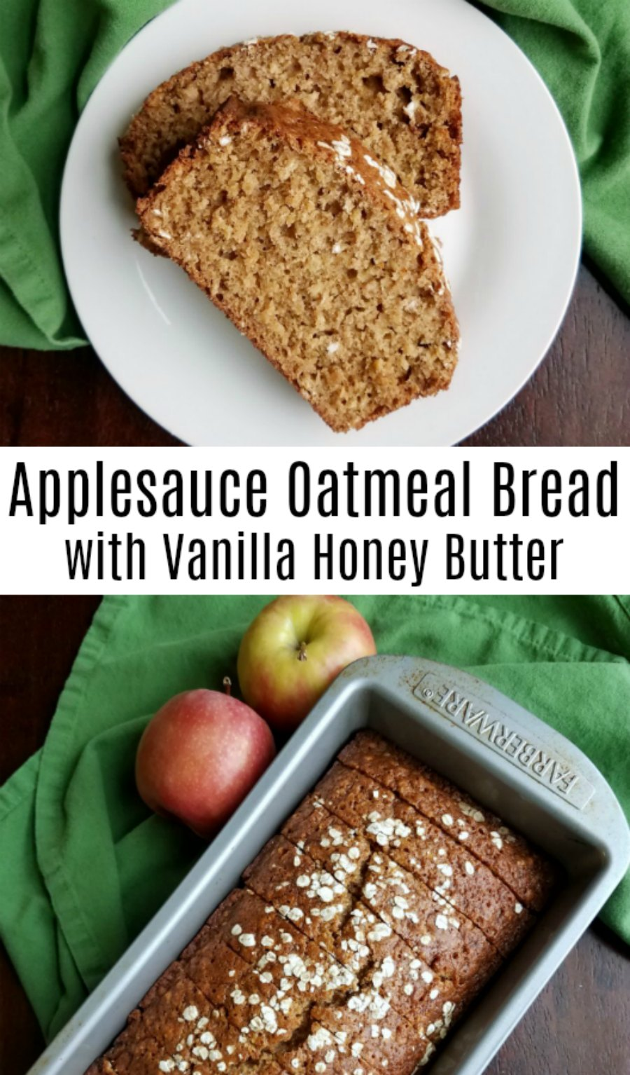 Applesauce oatmeal bread is a delicious sweet quick bread that's perfect for breakfast, tea time, snack or even a light dessert. The vanilla honey butter helps take to the next level of yumminess!