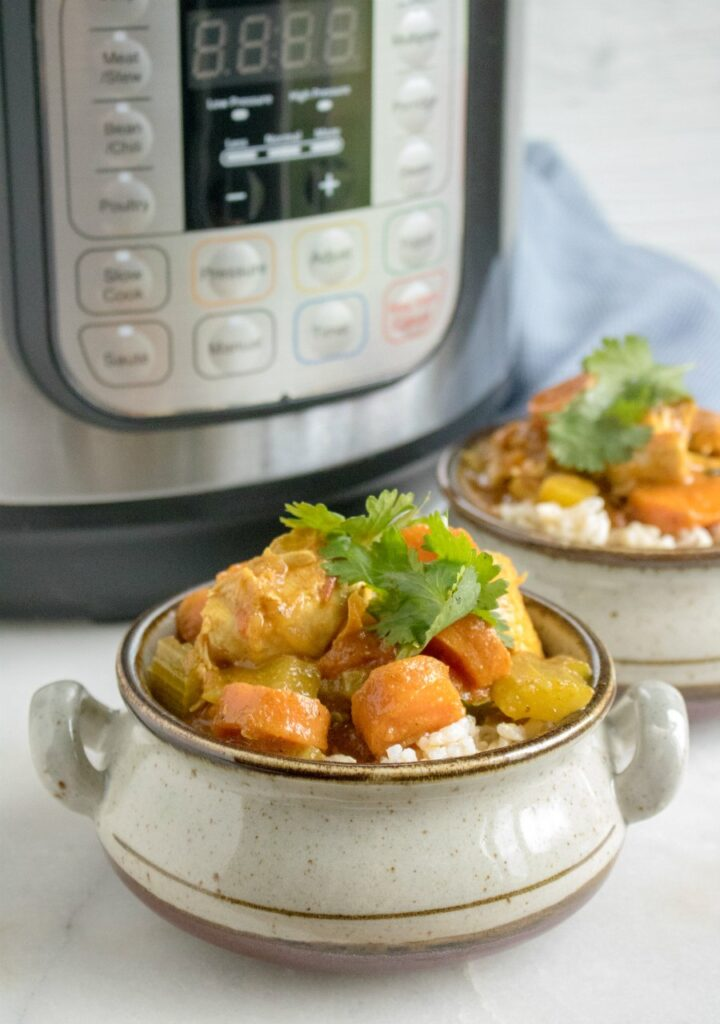 served chicken and veggie curry in front of pressure cooker.