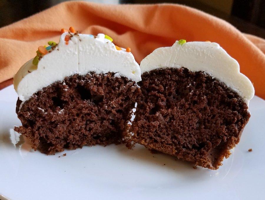 inside of chocolate pumpkin cupcake.