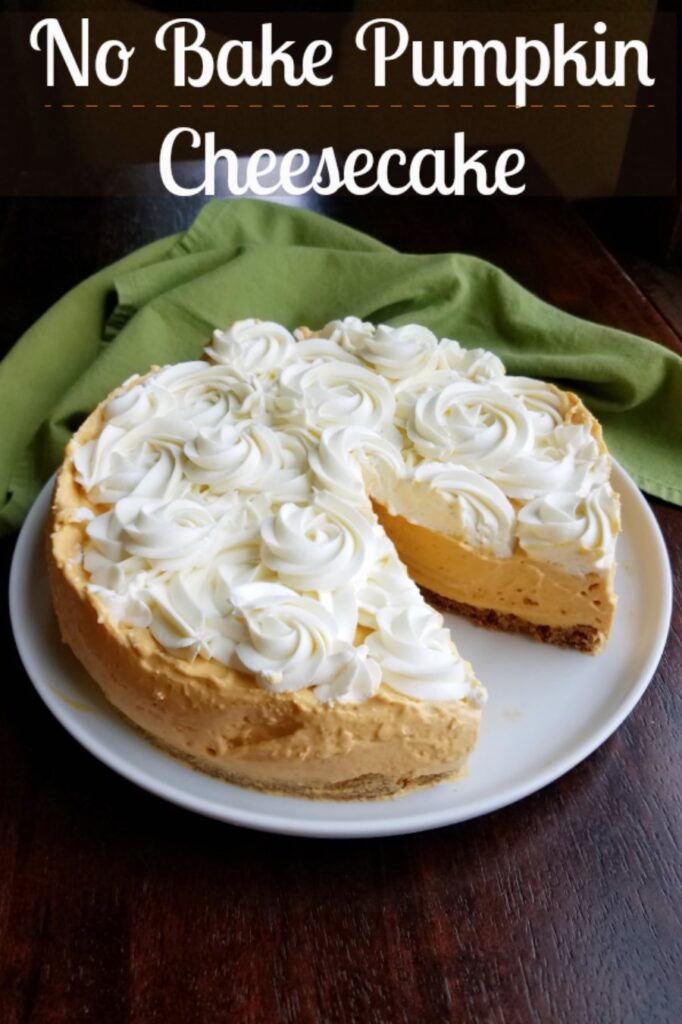 Soft and airy pumpkin filled no bake cheesecake is the perfect transitional fall dessert. It's also great for the holidays when your oven is full of other things. It has a nice pumpkin spice roundness to it and the vanilla cheesecake topping takes it to the next level!