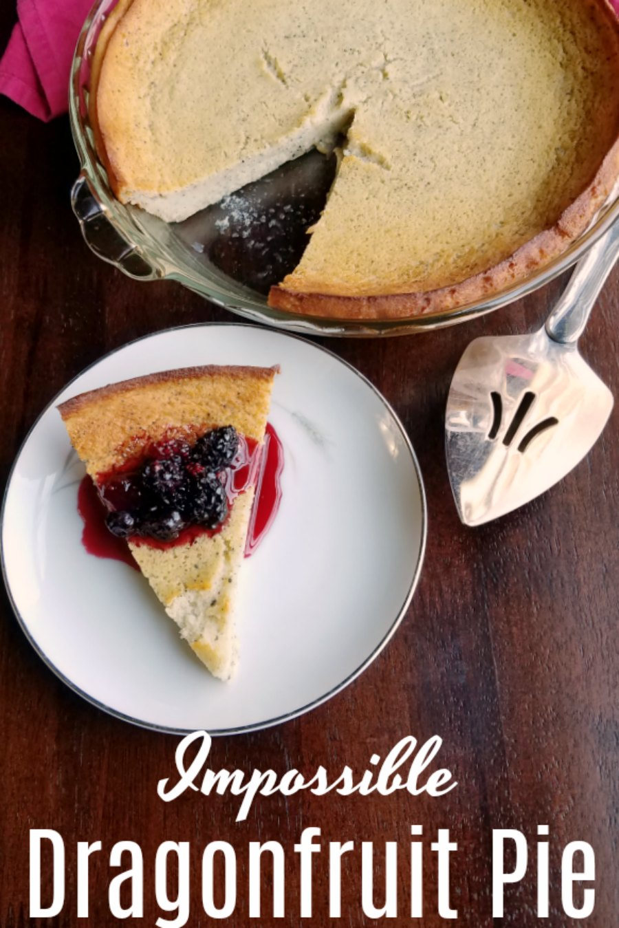 A crustless pie that comes together simply in a food processor or blender. This impossible dragonfruit pie is a great easy dessert!